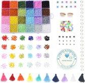 Mega Kralen box – Regenboog 24 kleuren – 2mm Rocailles - 20.000 kralen + veel extra artikelen – Zelf sieraden maken voor kinderen en volwassenen – DIY