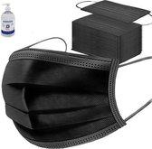 100 stuks - zwarte wegwerp mondkapjes - 3laags - gezichtsmaskers - Handgel 500ml met Pomp