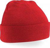 wintermuts Bright red   klassieke gebreide muts in 30 verschillende kleuren  tweelaags gebreid