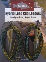 Hybrid Lead Clip Leaders - 45lb -100cm - 2 stuks - Leadcore Leaders met loodclip