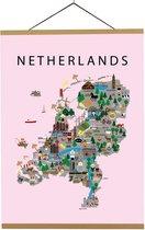 Kaart van Nederland   B2 poster   50x70 cm   Roze   Maison Maps