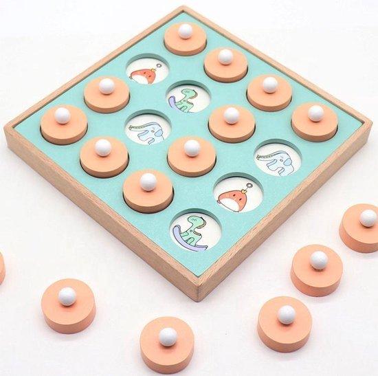 Memory bordspel voor kinderen| Educatief Speelgoed | Houten Geheugen spel plaatjes| Memorie Schaak Spel | Memory chess | 12 unieke plaatjes