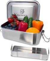 Happy Goods RVS Broodtrommel 800ML -  100% Waterdicht en Roestvrij Staal - Lunchbox met Scheidingswand en 2 compartimenten