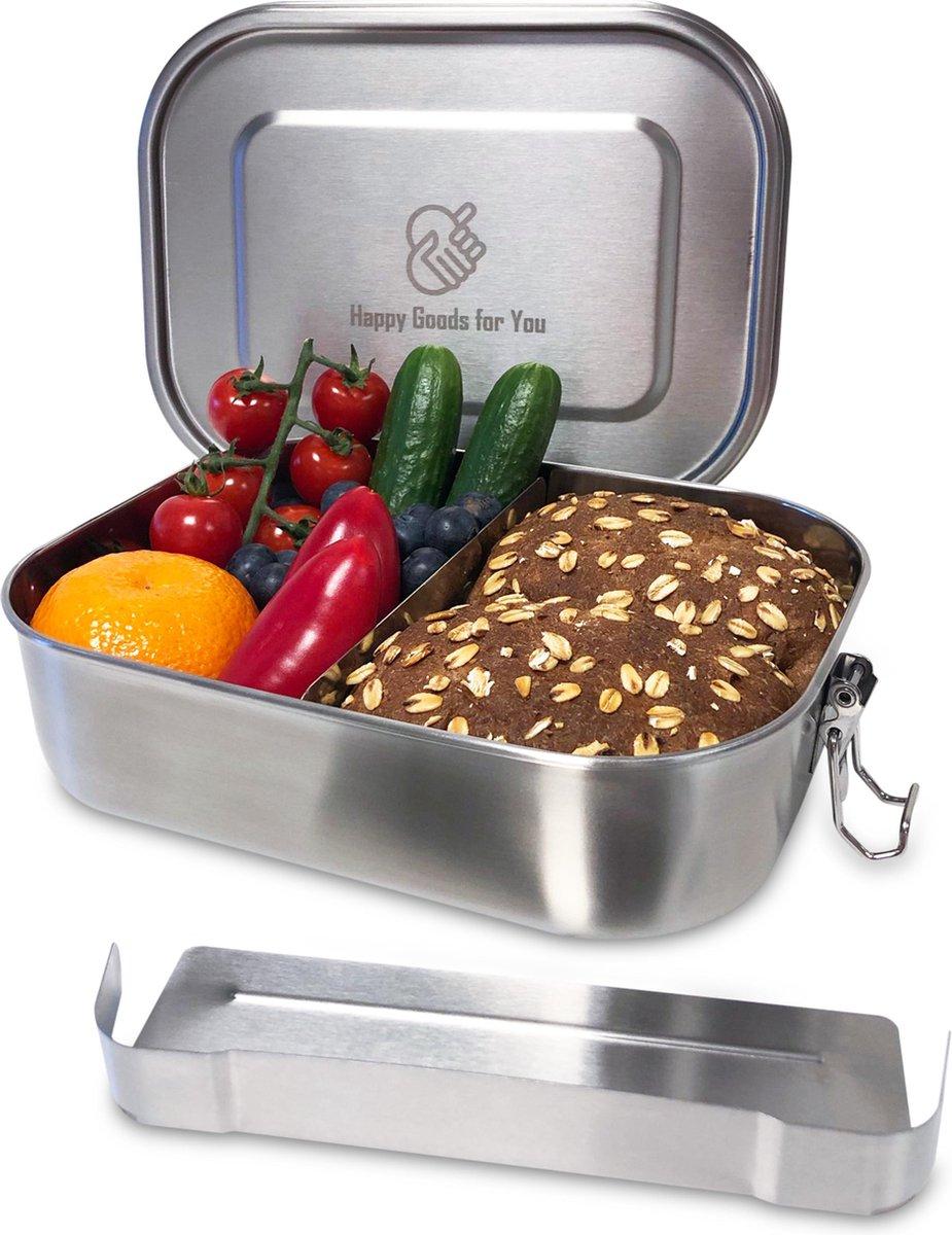 Happy Goods RVS Lunchbox 1400ML - 100% Waterdicht - uitneembare Scheidingswand - Broodtrommel voor k