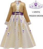 Luxe Frozen 2 Anna prinsessen jurk goud-geel + gratis Frozen kroon 122/128 (130) 7-8 jaar