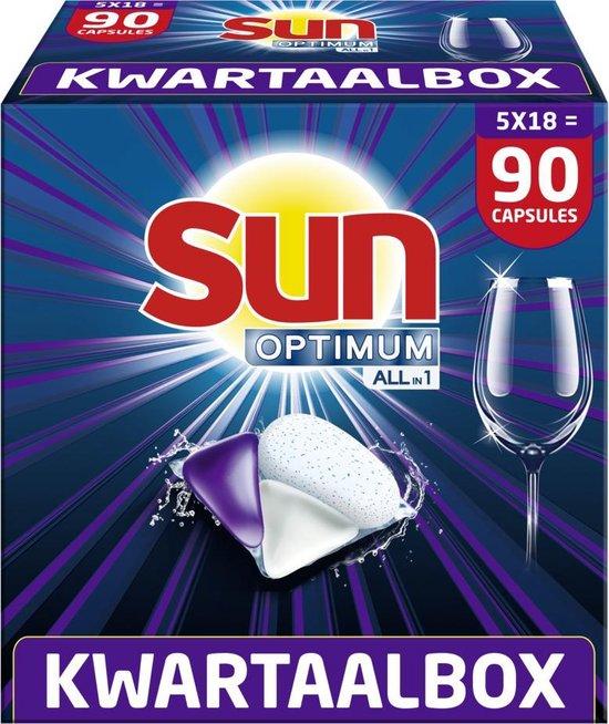 Sun Optimum All-in 1 Regular Capsules – 90 vaatwastabletten – Kwartaalbox