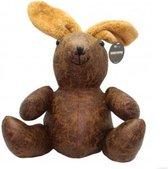 Deurstopper konijn bruin leder-look 1,5 kg - deurstop 32 cm hoog