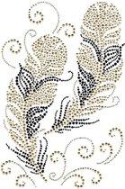 Strass Rhinestone Strijk Applicatie Van Twee Goudkleurige Veren 27 x 18 cm