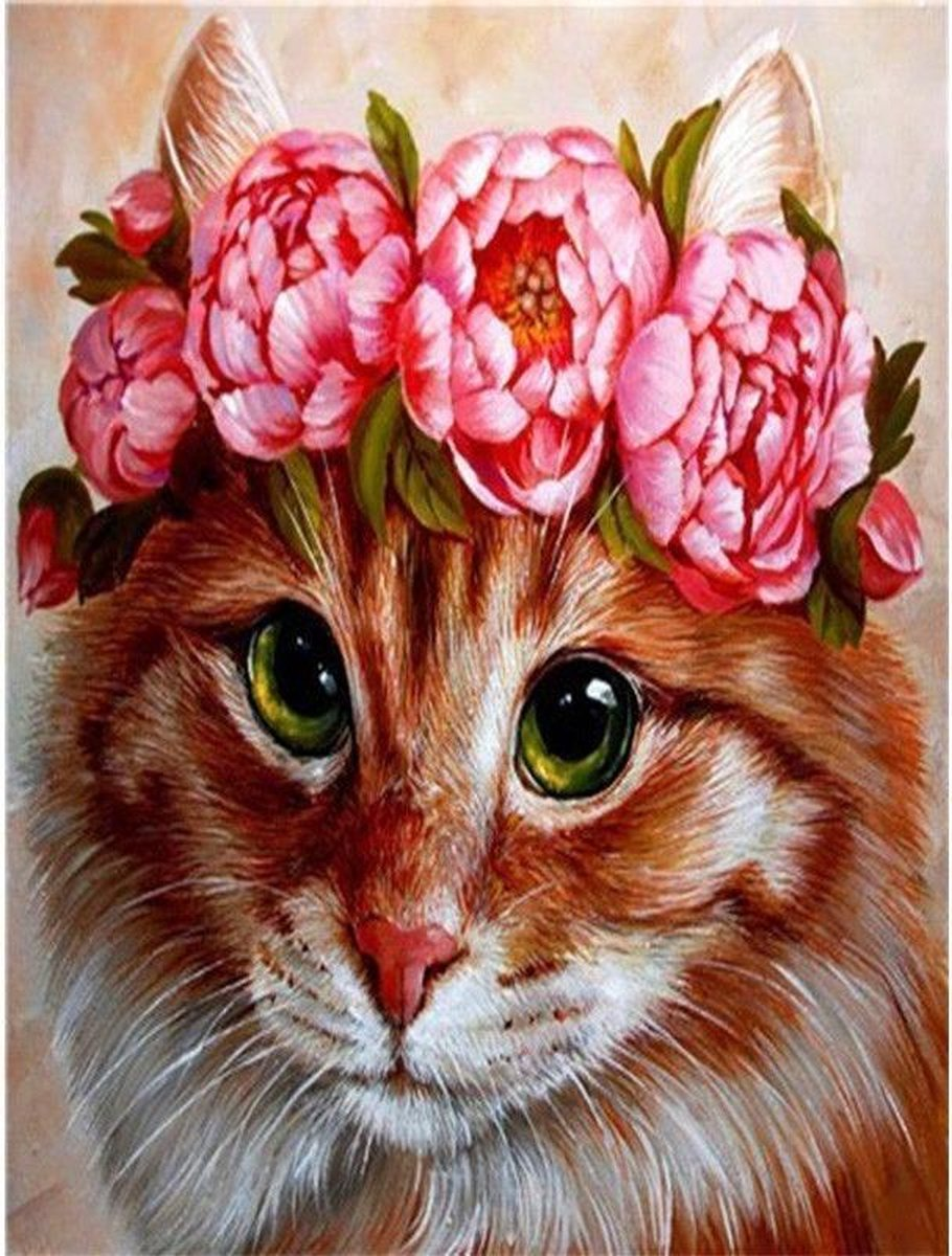 Premium Paintings - Kat met bloemenkrans - Diamond Painting Volwassenen - Pakket Volledig / Pakket Full - 30x40 cm - Moederdag cadeautje