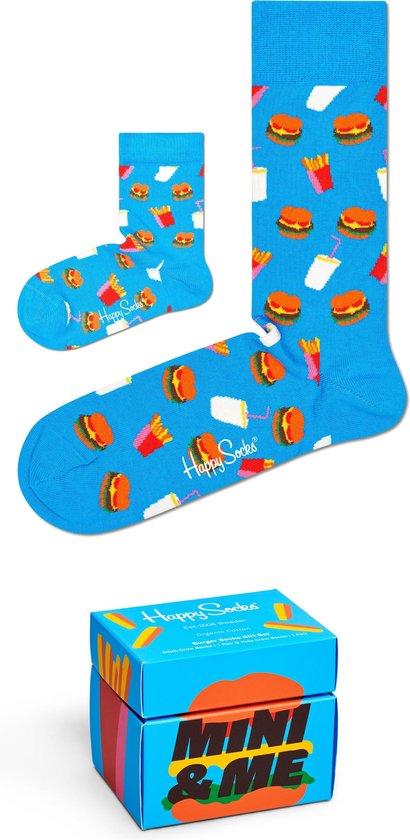 Happy Socks XKMIM02-6000 Mini Me Hamburger 2-pack Gift Box - Maat 36/0-12M