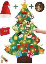 Vilten mini kerstboom voor kinderen incl LED kerstverlichting, Glitter kerstversiering en kerstmuts – Met handige opbergtas
