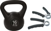 Tunturi - Fitness Set - Knijphalters 2 stuks - Kettlebell 16 kg