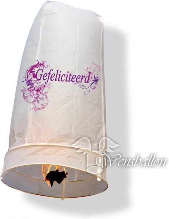 Wensballon geluksballon XL Gefeliciteerd (50x100cm)