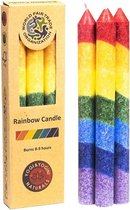 Greenpalm Regenboog dunne stearinekaars geurloos (3-pack)