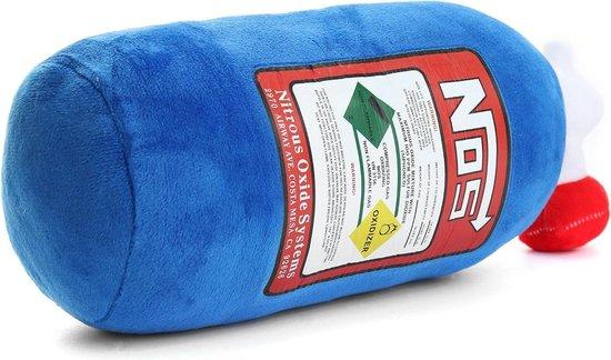 NOS - Nitro Knuffel - Groot (43 cm) - Auto Kussen - Perfect cadeau voor de autoliefhebber -  Driftliefhebber - Quartermileliefhebber - Vermogenliefhebber - Snelheidsduivel