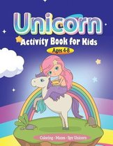 Unicorn Activity book for Kids ages 4-8, Coloring - Mazes-Spy Unicorn