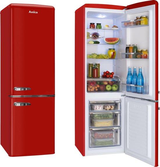 Koelkast: Amica KGCR 387100 R koel-vriescombinatie Vrijstaand Rood 244 l A++, van het merk Amica