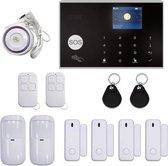 Draadloos Alarmsysteem Touch - 4 Deur/Raamsensoren - 2 Bewegingssensoren - 2 Afstandsbedieningen - 2 RFID Hangers - Bedrade Sirene