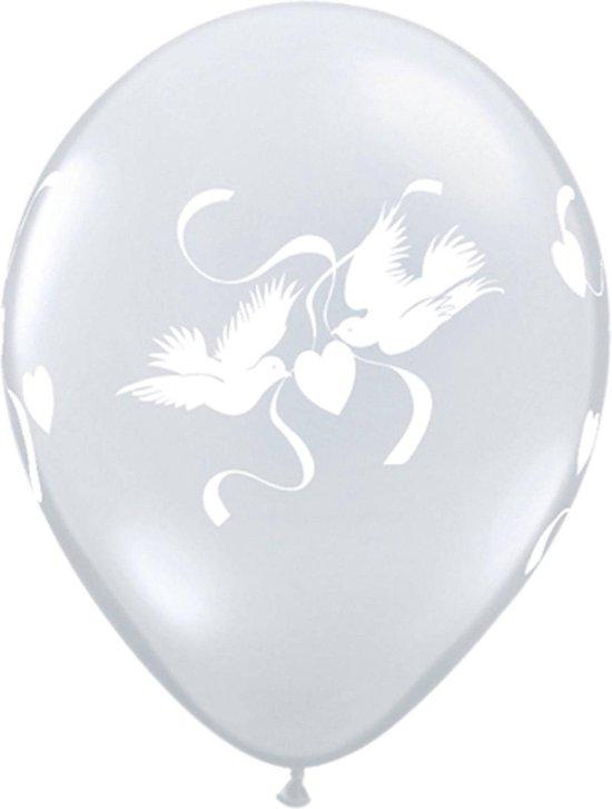 Folat Ballonnen Liefdes Duiven 28 Cm Latex Transparant 25 Stuks