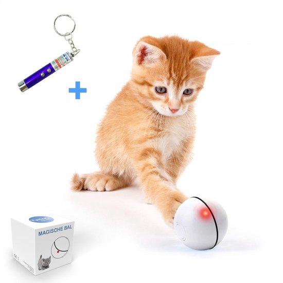 TwinQ Magische Bal Interactief Speelgoed Hond/Kat - Speelgoed Voor Dieren - USB oplaadbaar - Wit