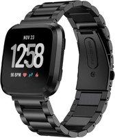 Q-DESYN Fitbit Versa bandje - RVS - Zwart - Inclusief Tool