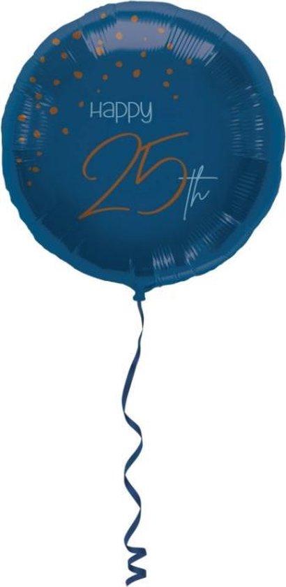 Folieballon Elegant True Blue 25 jaar 45 cm