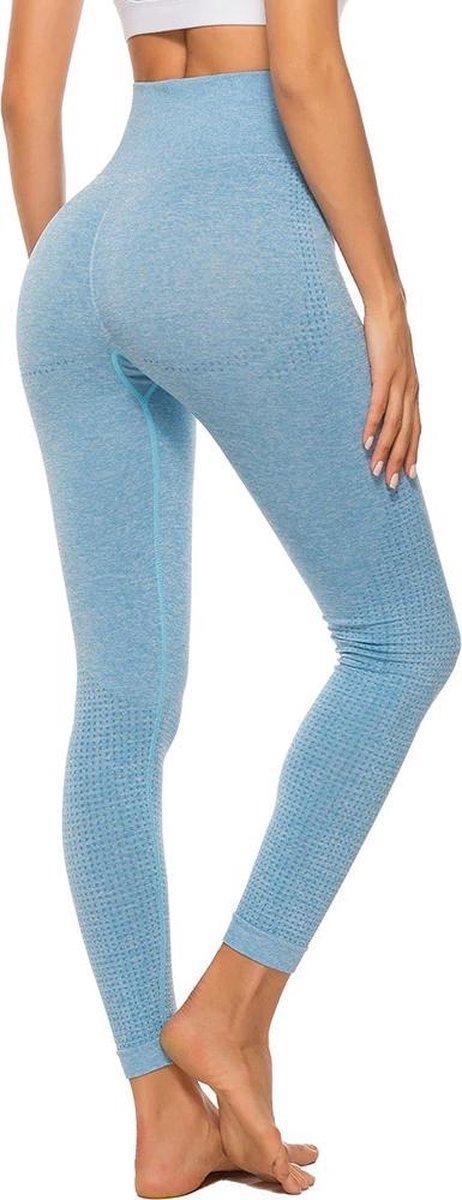 Sportlegging Dames - Blauw - High Waist Legging - Yoga Pants - Fitness Legging - Maat M
