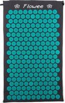 Flowee Spijkermat – Grijs met Zeegroen – (77cm x 45cm) – Acupressuur mat – Acupressure mat