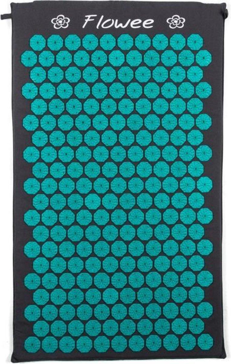 Flowee Spijkermat – Grijs met Zeegroen – (75cm x 45cm) – Acupressuur mat – Acupressure mat
