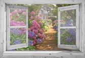 tuinposter - 90x65 cm - doorkijk - wit venster hortensia tuin - tuindecoratie - tuindoek - tuin decoratie - tuinposters buiten - tuinschilderij