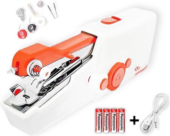 Handnaaimachine - Inclusief USB-Kabel + 4 AA Batterijen - Met 3 Spoelen Garen en Accessoires - Mini Naaimachine - Elektrisch - Wit   Rood