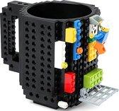 Mok met bouwstenen - Geschikt voor LEGO en andere merken - Zwart