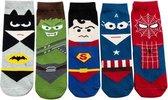 Crazy Soxx - kindersokken 5 paar - Superhelden - grappige sokken - batman - superman - hulk - spiderman