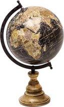 Home & Deco Wereldbol antieke look Op Voet 37 cm Zwart
