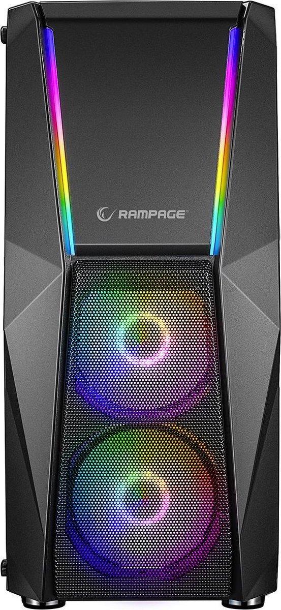 Rampage X-Force Gaming PC Behuizing/Toren Midi Tower – Zwart