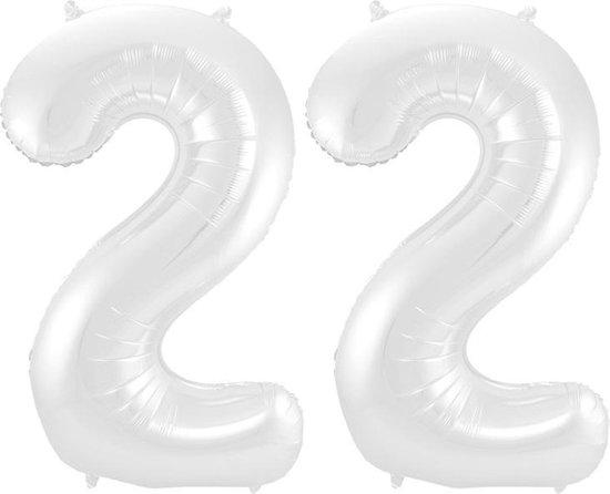 Cijfer 22 Wit Metallic Mat 86 cm