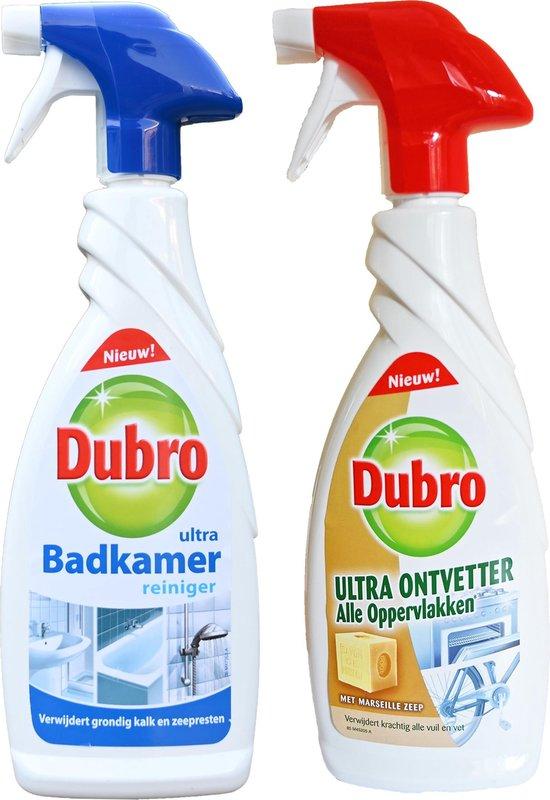 Dubro 1x Badkamer ultra + 1x Ultra ontvetter alle oppervlakken - Verwijdert grondig kalk en zeepresten 2x 650ml