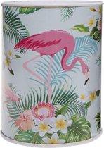Lg-imports Spaarpot Flamingo 10 X 7,5 Cm Metaal Lichtblauw