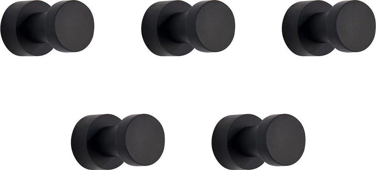 VDN Stainless Handdoekhaakjes zwart - Vaatdoekhouder - Rond - Haakjes handdoek - Wandhaak - Ophanghaakjes - 5 Stuks