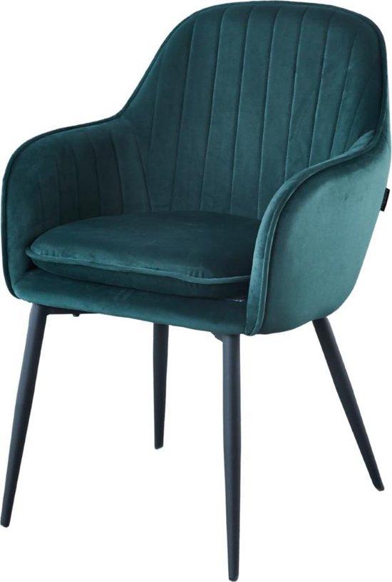 Eetkamerstoel - met armleuning - Groen - Velvet Stoel - Alexander - merk Troon Collectie - Comfortabel - Eetkamer stoelen - Extra stoelen voor huiskamer - Dineerstoelen – Tafelstoelen
