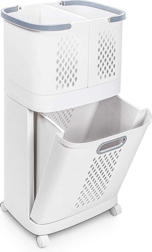 Sens Design Wasmanden met deksel - Wassorteerder 3 vakken op wieltjes