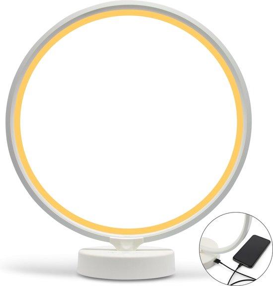 LIROMA® Daglichtlamp - ⌀ 32 - USB poort - 10000Lux - Touch screen - Geel en Wit licht - Lichttherapielamp – Energielamp - Sad Lamp - Lichttherapie