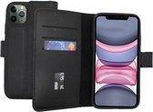Lelycase iPhone 12 (Pro) hoesje bookcase - iPhone 12 (Pro) wallet case - hoesje iPhone 12 (Pro) bookcase - Leer - Zwart - Lelycase Echt Lederen Bookcase