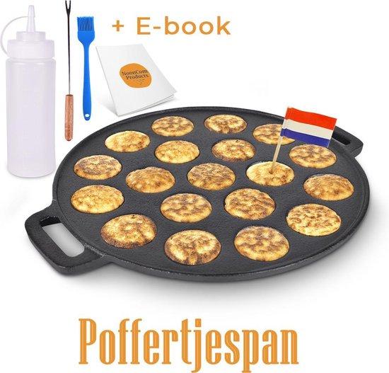 NCP® Poffertjespan set met doseerfles, kwast en vork - Poffertjesmaker incl....