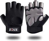 ZEUZ® Sport & Fitness Handschoenen Dames & Heren – Krachttraining Artikelen – Gym & Crossfit Training – Grijs & Zwart – Gloves voor meer grip en bescherming tegen blaren & eelt - Maat L