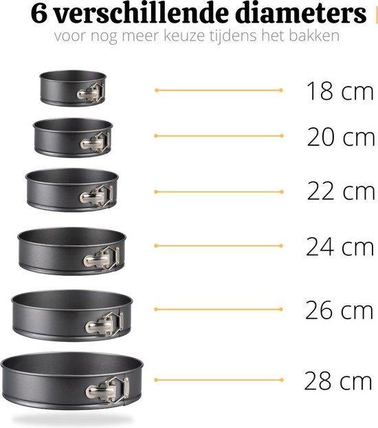Bakiez® 6-delig Ronde Springvorm Set - Maten: Ø 28 / 26 / 24 / 22 / 20 / 18 cm - Bakblik Rond - Taartvorm - Bakvorm - RVS - Anti Aanbaklaag