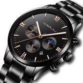 CRRJU Horloges voor Mannen Herenhorloge Jongens Heren Watch Horloge Vaderdag Kados – Cadeautje Papa Cadeau – Zwart Rosé