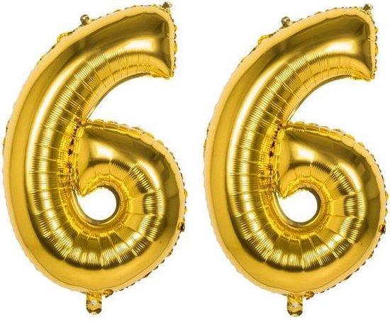 66 Jaar Folie Ballonnen Goud - Happy Birthday - Foil Balloon - Versiering - Verjaardag - Man / Vrouw - Feest - Inclusief Opblaas Stokje & Clip - XXL - 115 cm