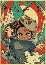 Kimetsu no Yaiba Demon Slayer Tanjiro Water Breathing Pose II Anime Vintage Poster 42x30cm.