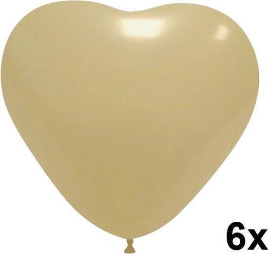 Hartjes ballonnen ivoor, 6 stuks, 28cm